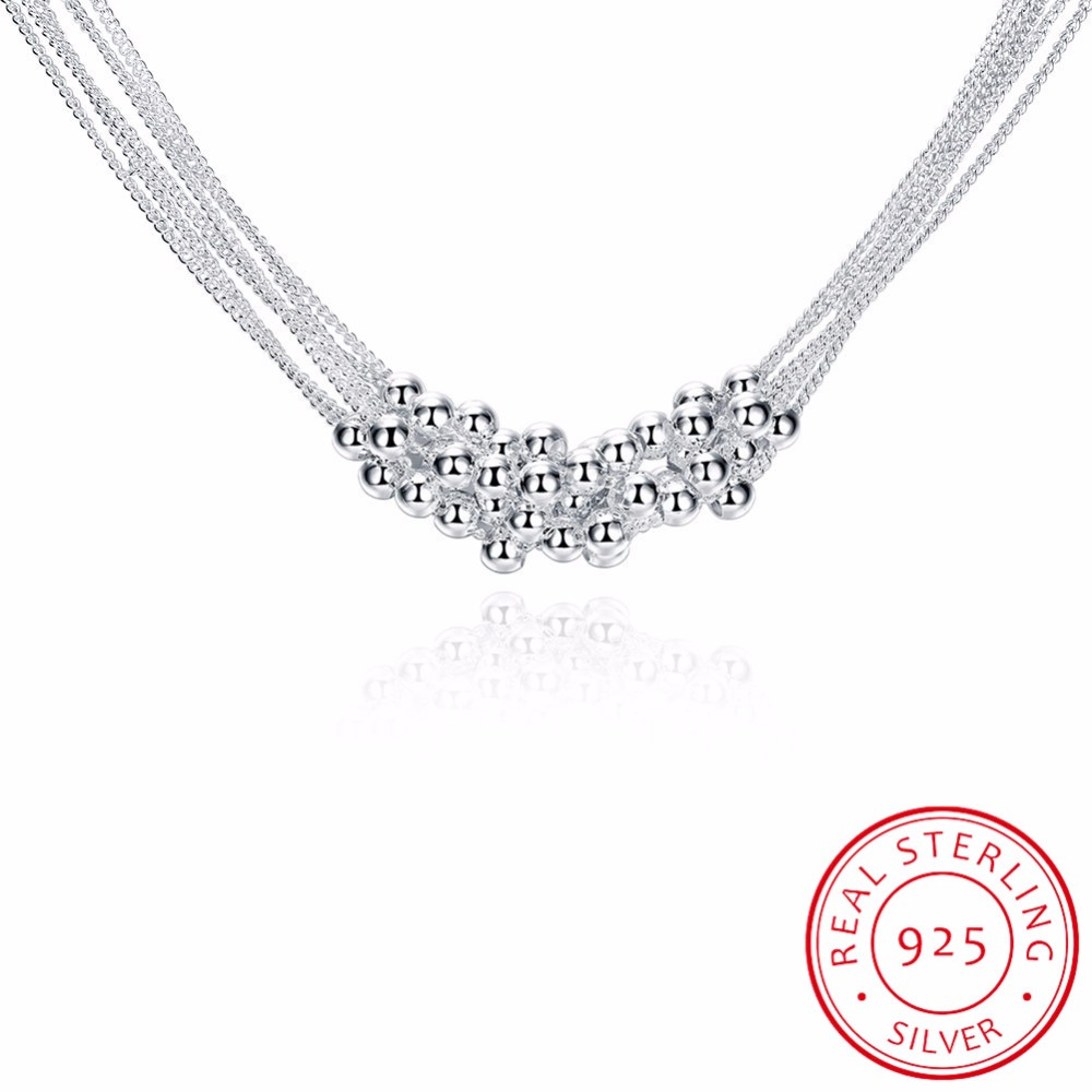 LEKANI Fine Jewelry 925 sterling silver necklace for women 18 inches six party line light bead silver necklace Colar de PrataLEKANI Fine Jewelry 925 sterling silver necklace for women 18 inches six party line light bead silver necklace Colar de Prata