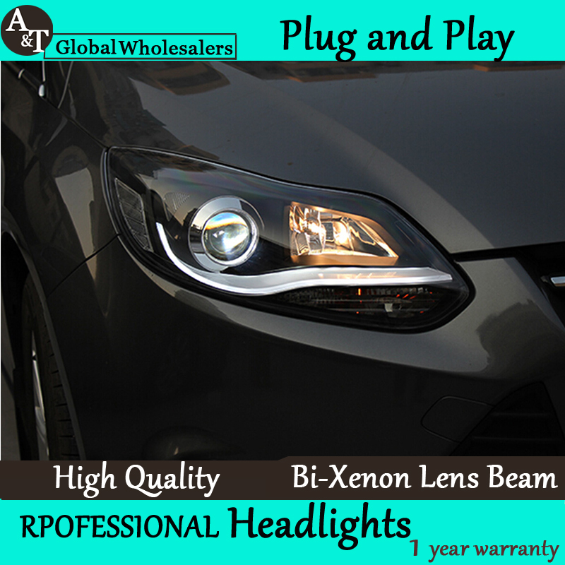 Car Styling for 2012-2014 Ford Focus LED Headlight assembly New Focus3 DRL Lens Double Beam H7 with hid kit 2pcs. ownsun new style tear drop led projector lens headlight for new ford focus 2012 2013