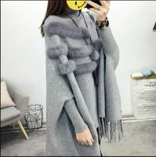 Pull Spring And Winter Women High Collar Real Rabbit Fur Cloak Pullover Lady Bat Sleeves Tassel Poncho Sweater Knitwear E953(China)