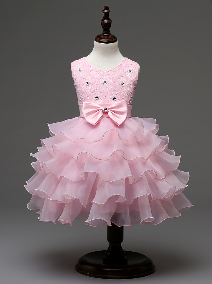 Children Formal Clothes Beaded Rhinestones White Royal Blue Red Hot Pink Wedding Party Kids Flower Girl Baby Pink Wedding Gowns
