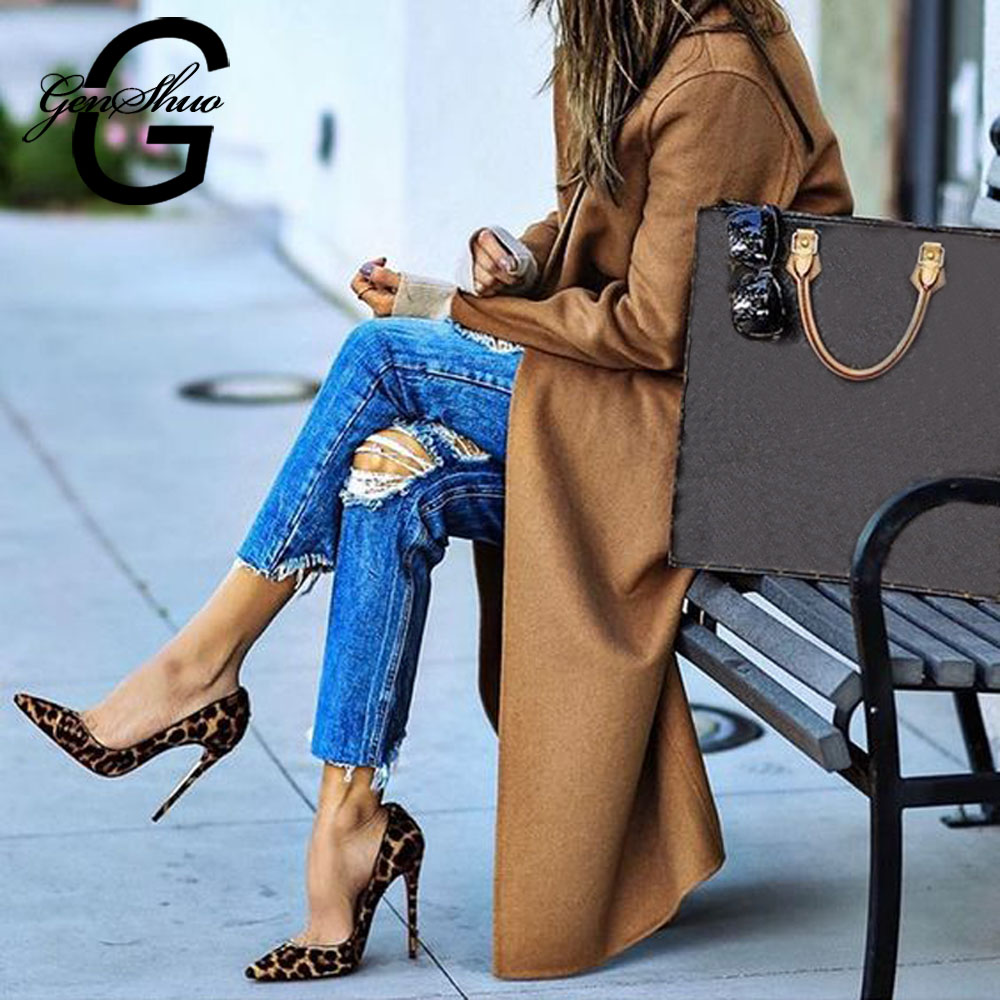 GENSHUO High Heels Shoes Women Pumps Flock Leopard Print Sexy Stilettos 10 12cm Party Heeled Designer Shoes Plus Big Size 11 12