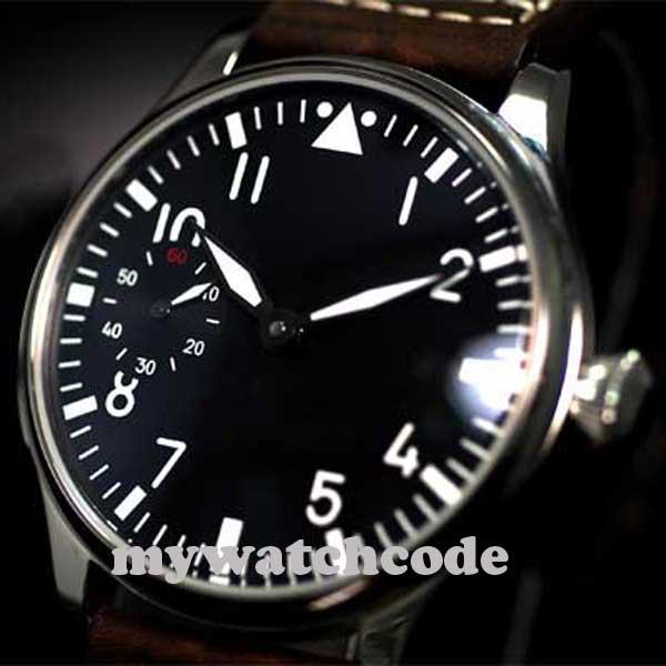 Livraison Gratuite 44mm classique cadran noir parnis lumineux makrs asie 6497 mouvement montres mécaniques à remontage manuel montre pour hommes PA01 - 2