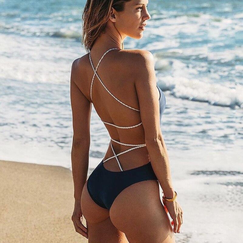 2019 летний сексуальный купальник цельный купальник бикини, на шнуровке, с низким вырезом на спине Для женщин купальники купальные костюмы Пу...
