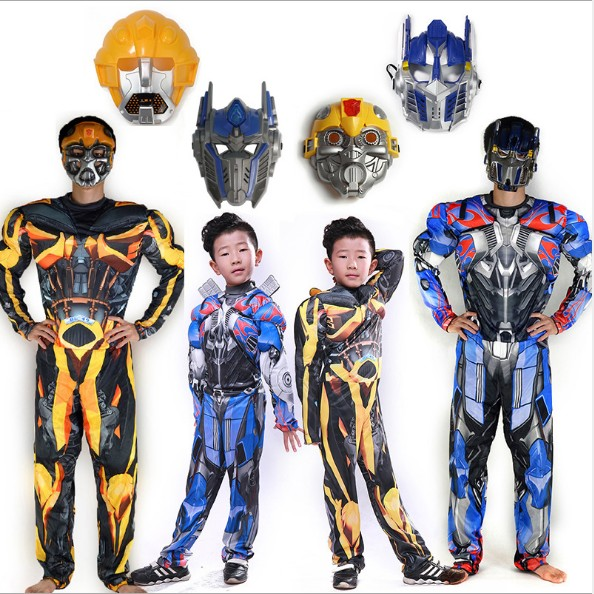 New movie superhero Optimus Prime Bumblebee muscle cosplay costume children full body suits kids carnival Halloween costumes