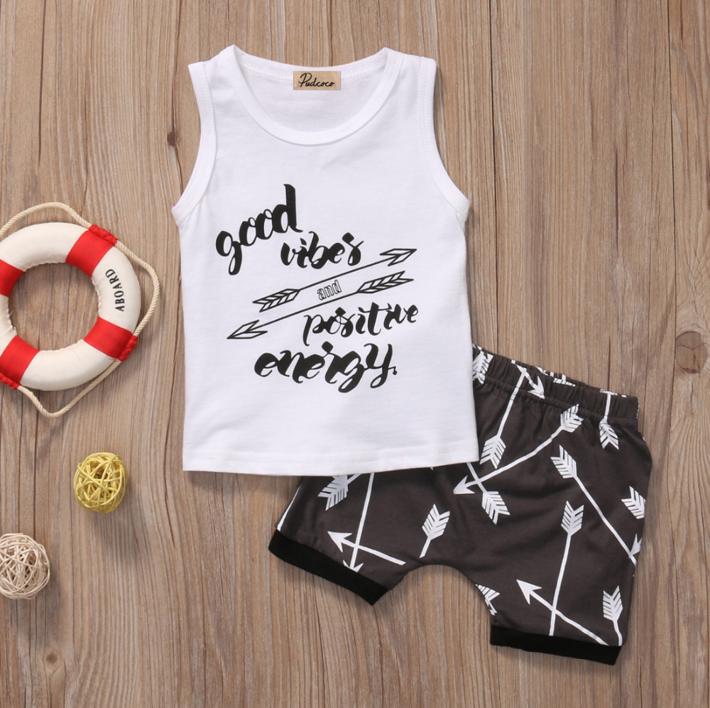 2017 New 2PCS Newborn Kids Baby Boys Summer T-shirt Tops Shorts Pants Outfit Clothes Set