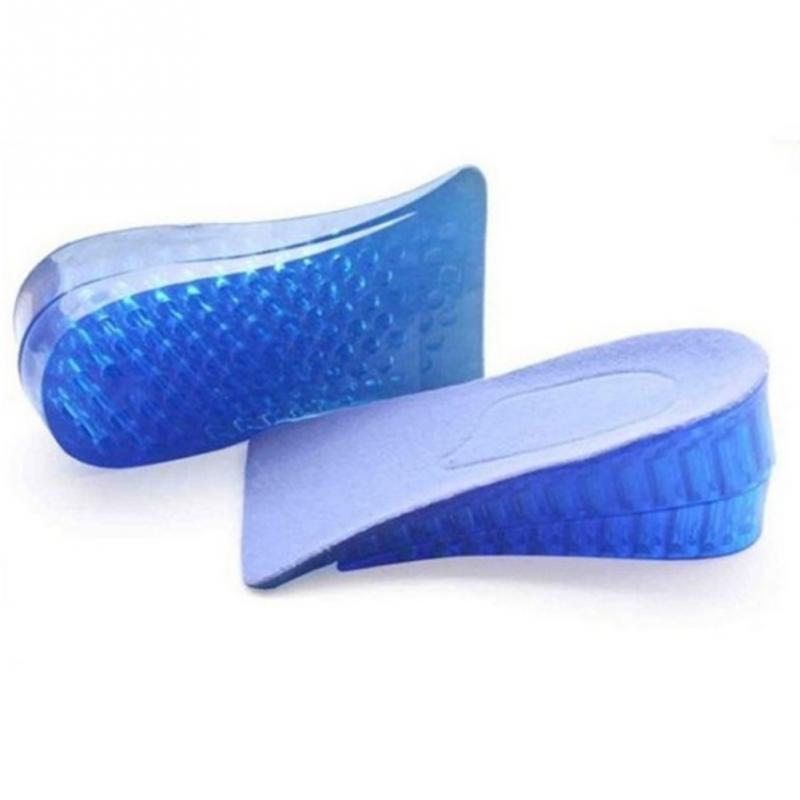1 par de palmilhas de silicone dupla camada confortável unisex feminino silicone gel elevador altura aumento palmilhas sapato calcanhar inserção almofada