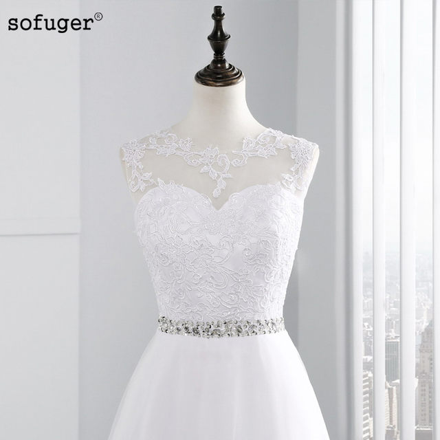 Long Cheap A Line Lace Beach Wedding Dress White Tulle Beading Organza Appliques Plus Size Bride dresses
