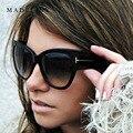 New designer de moda da marca tom cat eye óculos de sol das mulheres quadro de grandes dimensões do vintage óculos de sol oculos de sol uv400 ma092