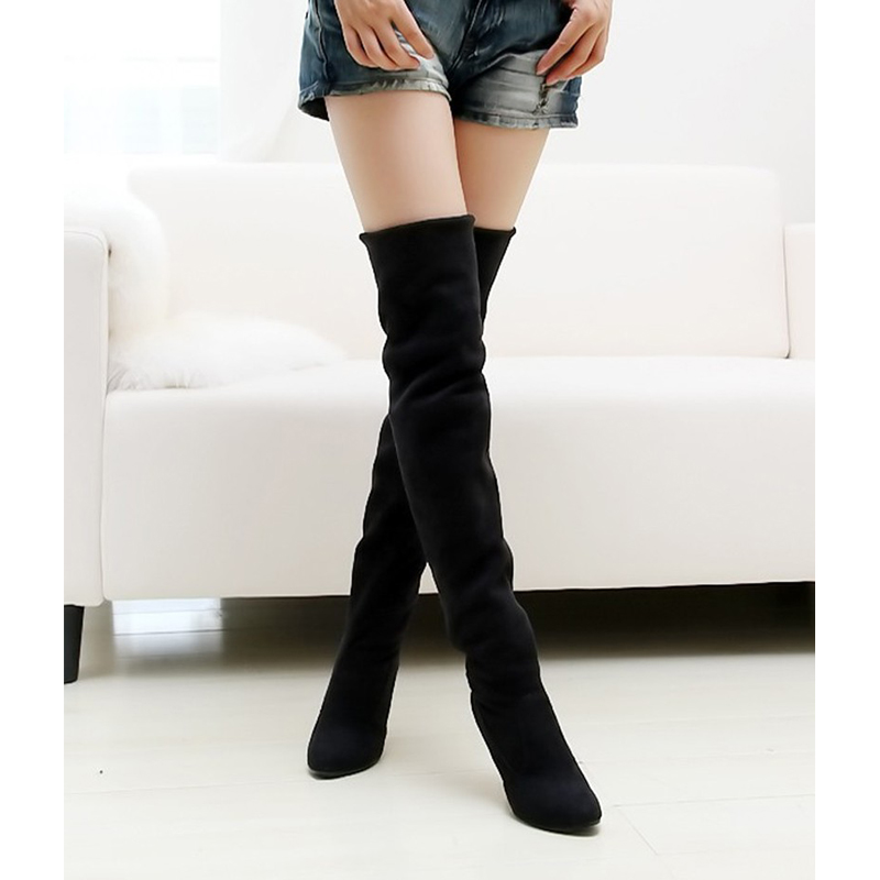 Hot sale fashion long boots for women Nubuck Leather sexy Stovepipe long boots Over the Knee high heels women boots size 34-43  цены онлайн