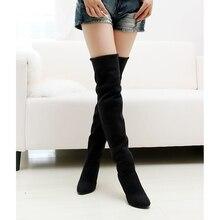 Hot sale da moda longas botas para as mulheres Nubuck Couro sexy Chaminé botas longas Sobre o Joelho de salto alto mulheres botas tamanho 34-43