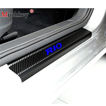 Door Sill Scuff Plate For KIA RIO K2 Sedan Hatchback 2010 20112012 2013 2014 2015 2016 2017 Carbon Fibre Sticker Car Accessories image