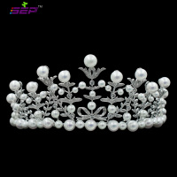 Crystals CZ Tiara Imitation Pearls Bridal Crown Women Wedding Hair Jewelry AccessoriesPageant Headpiece TR15082 ON SALE