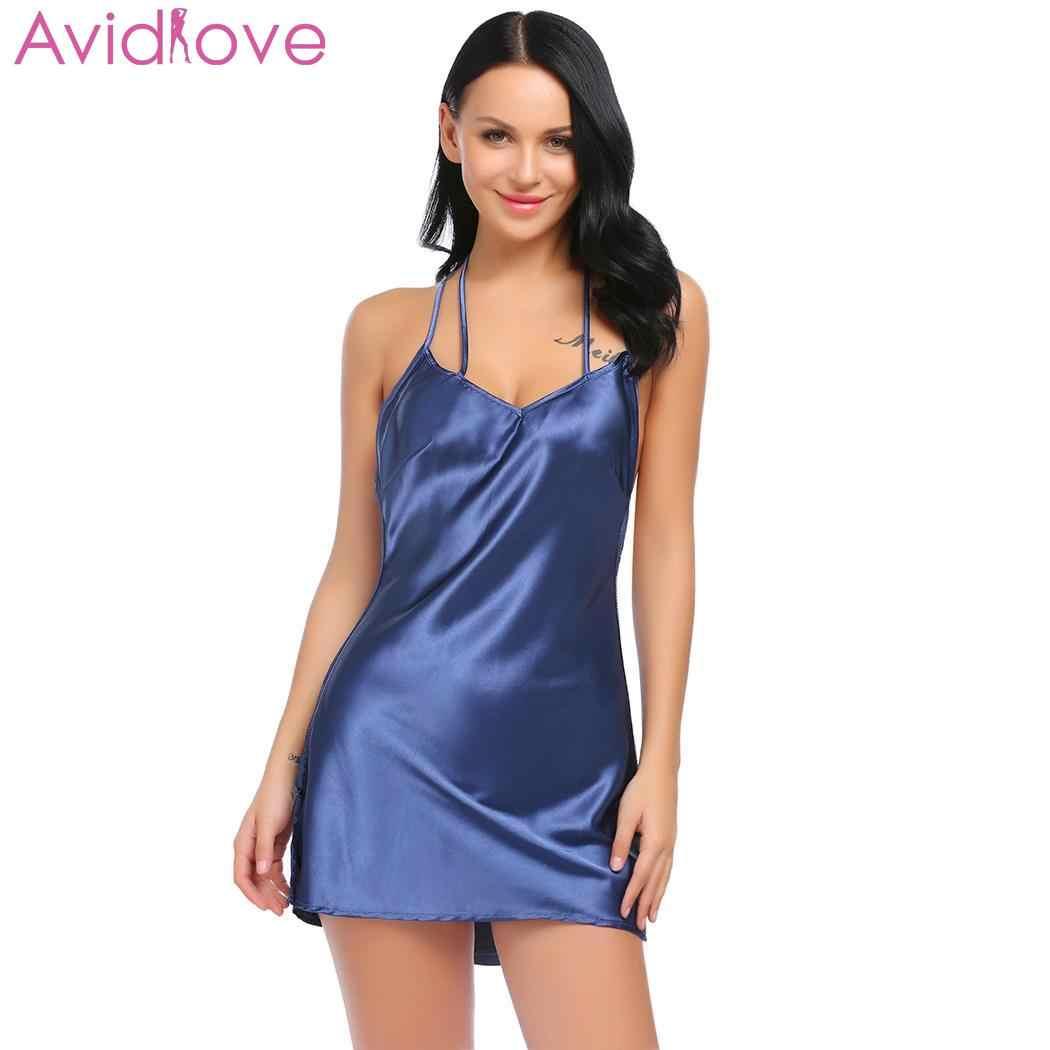 5efdb9242db3 Avidlove Для женщин летние Сексуальное белье Лоскутная ночная рубашка  ремень сорочка ...