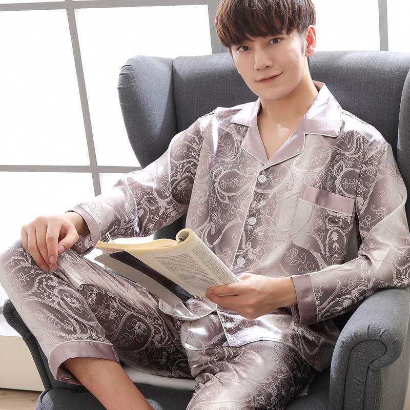 Rayon Satin Men Pajama Pyjama Set Spring Summer Shirt&Pants 2PCS Sleepwear Silky Home Clothes Oversize 3XL Male Nightwear