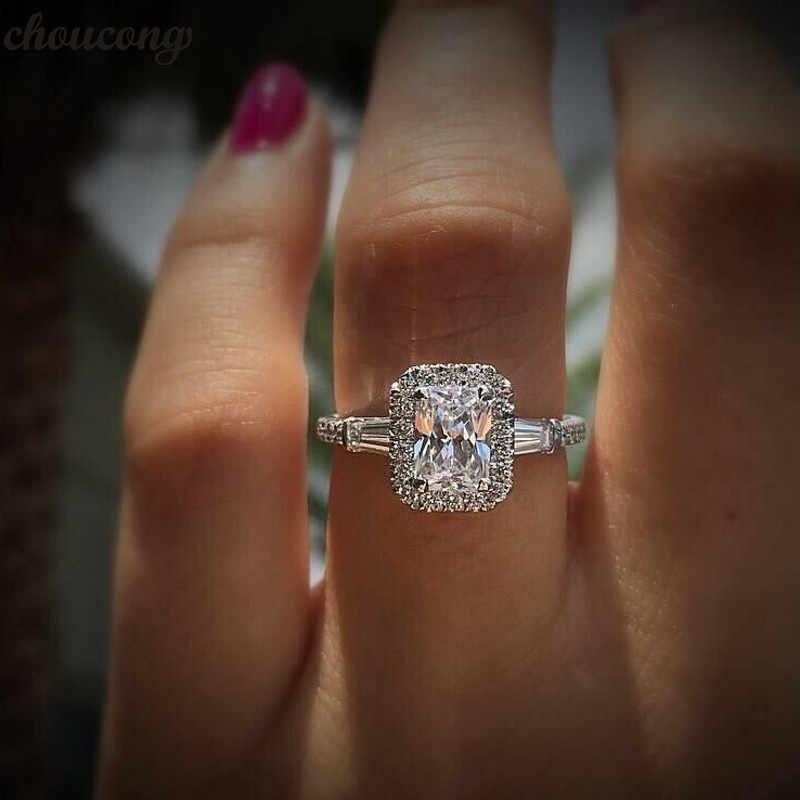 Choucong promesa romántica anillo AAAAA Zircon Cz de la plata esterlina 925 de compromiso anillos de boda para las mujeres joyería de la boda, regalo