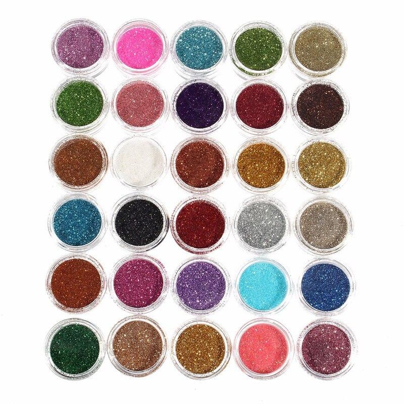 30pcs Mixed Colors Powder Pigment Glitter Mineral Spangle Eyeshadow Makeup Cosmetic Set Long-lasting 2018 Random Color