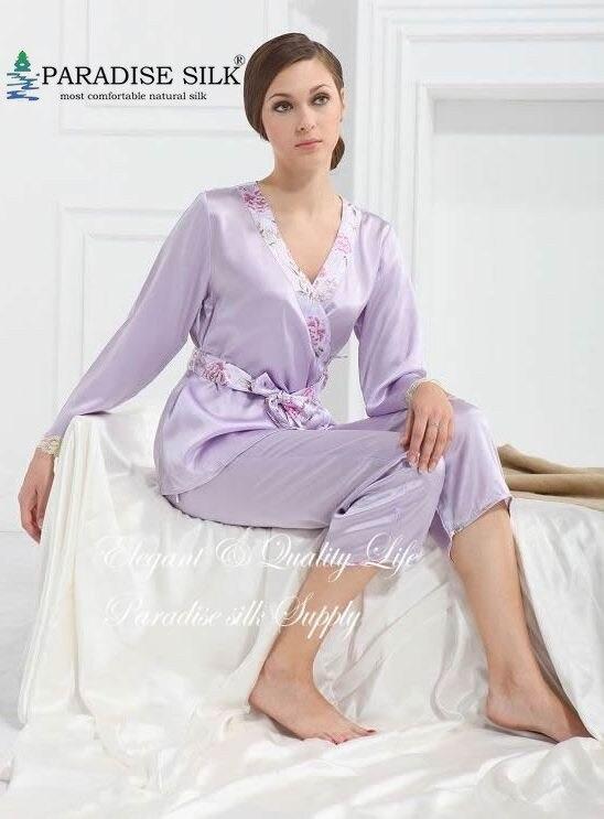 Pajama Set 100% Pure Charmeuse Silk Womens Lilac Pajamas Set Size M L XL