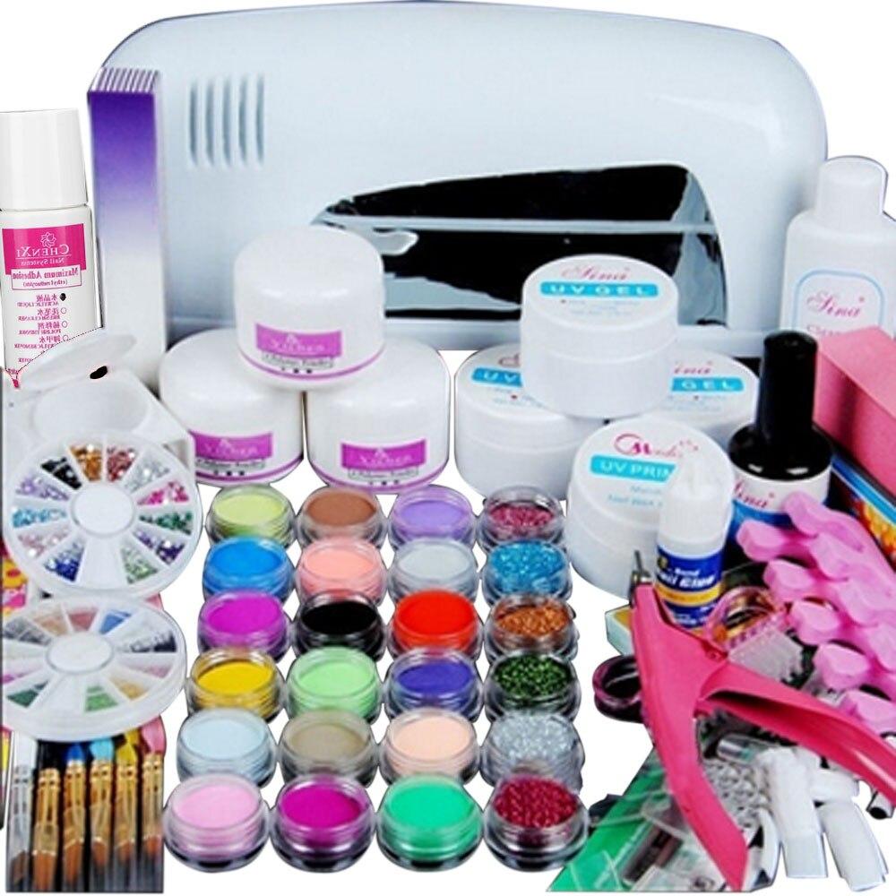 Nail Art Tips 9W UV White Dryer lamp 24 color Acrylic Powder Nail Art Kit Gel Tools Women Professional Design Nail Art Kits Set pro nail art uv gel kits tools pink uv lamp brush tips glue acrylic powder set 20 2018