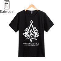 Popular Game Assassins Creed Unity Men Tees Cosplay Costume White/Black T-shirts Boys Casual Fashion Tops