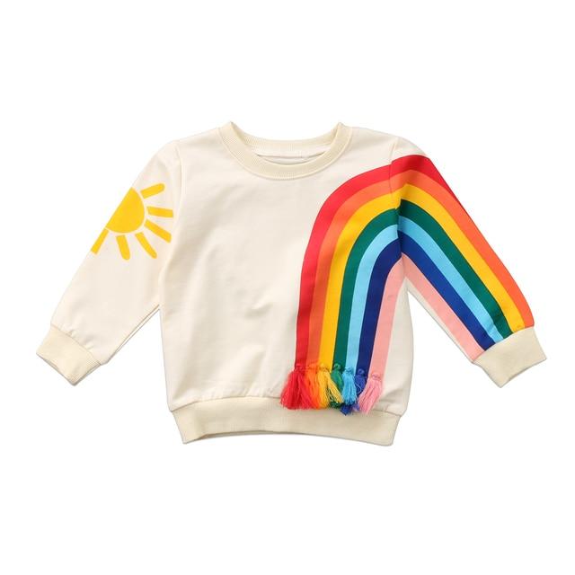 Baby Girl Kid Cầu Vồng T-Shirt Tops Quần Áo Áo Len Áo Cardigan