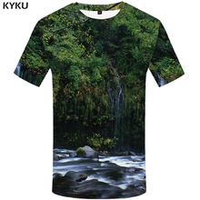 KYKU Forest T Shirt Men Fish 3d T-shirt Punk Rock Clothes Anime Tree Green Printed Tshirt Funny Harajuku Mens Clothing Summer
