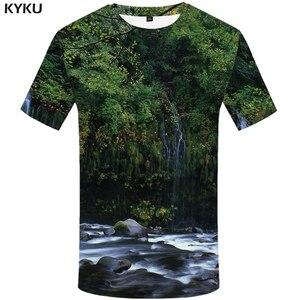 KYKU Forest T Shirt Men Fish 3d T-shirt Punk Rock Clothes Anime Tree Green Printed Tshirt Funny Harajuku Mens Clothing Summer(China)
