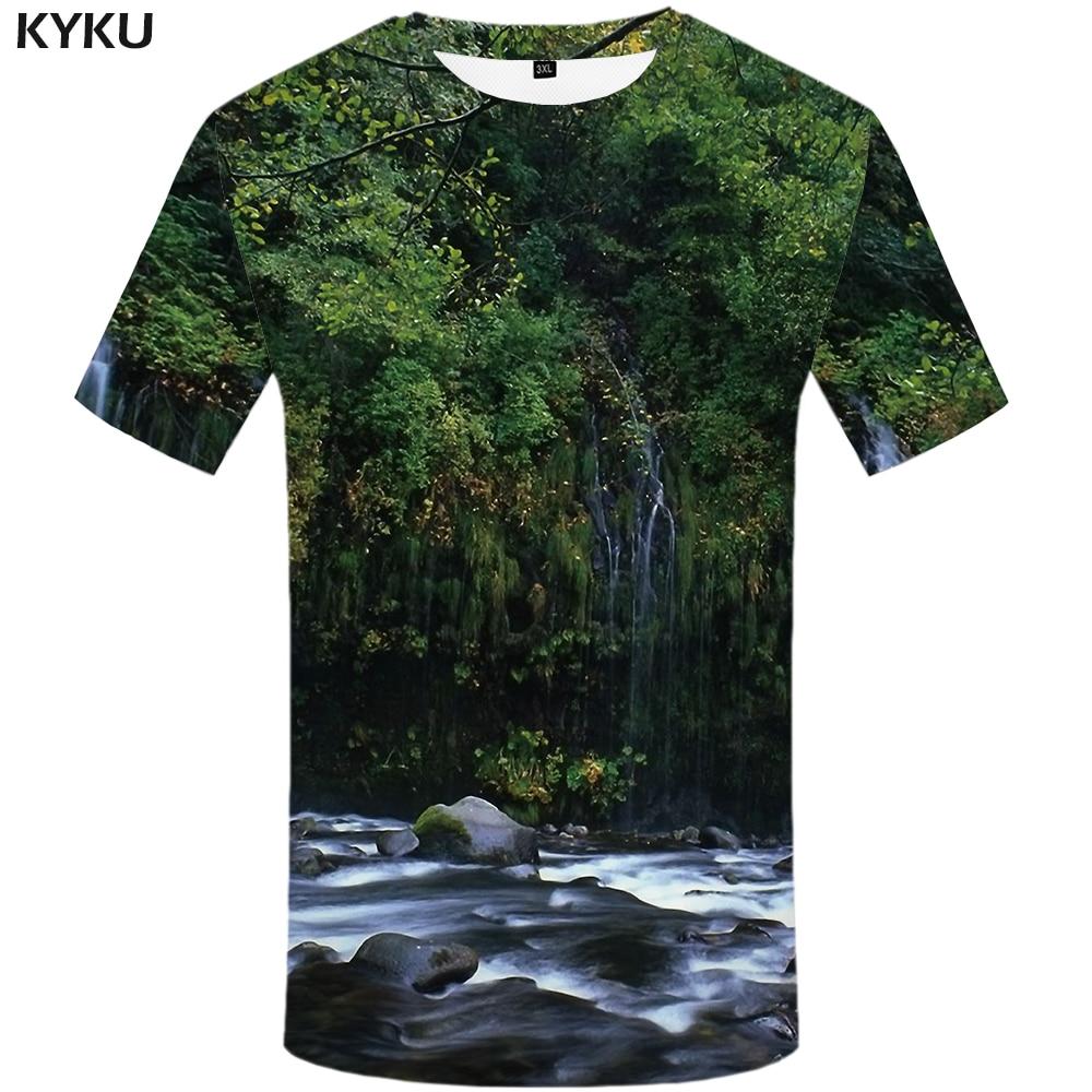 KYKU Forest   T     Shirt   Men Fish 3d   T  -  shirt   Punk Rock Clothes Anime Tree Green Printed Tshirt Funny Harajuku Mens Clothing Summer
