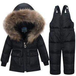 Image 2 - Veste pour enfants, automne hiver, vestes en duvet, Parka en fourrure, ensemble pantalon, nouvel an
