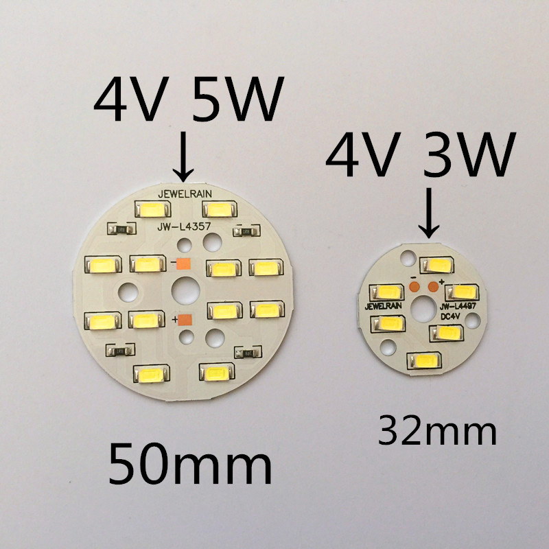 10pcs Small round light board 4 V <font><b>strips</b></font> light plate 50 mm circular lamp board <font><b>led</b></font> small round light board 5 W image