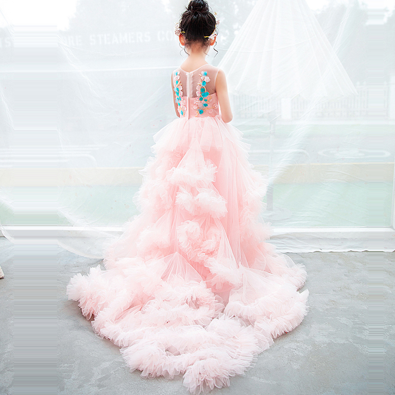Trails Pink Princess Dress Communion Pageant Ball Gowns Embroidery Kids Evening Dresses Long Dress Gown Cloud Flower Girl Dress the jungle book