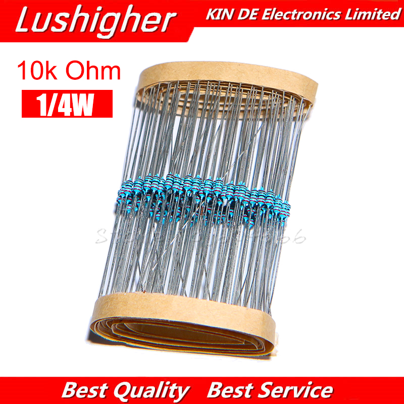 100pcs 10K Ohm 1/4W Metal Film Resistor 1% Error
