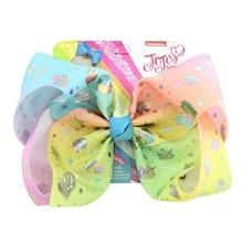 Jojo Siwa Hair Bow 8inch  large Handmade bows Unicorn Bow-knot Print Grosgrain Ribbon clips Kids Accessory
