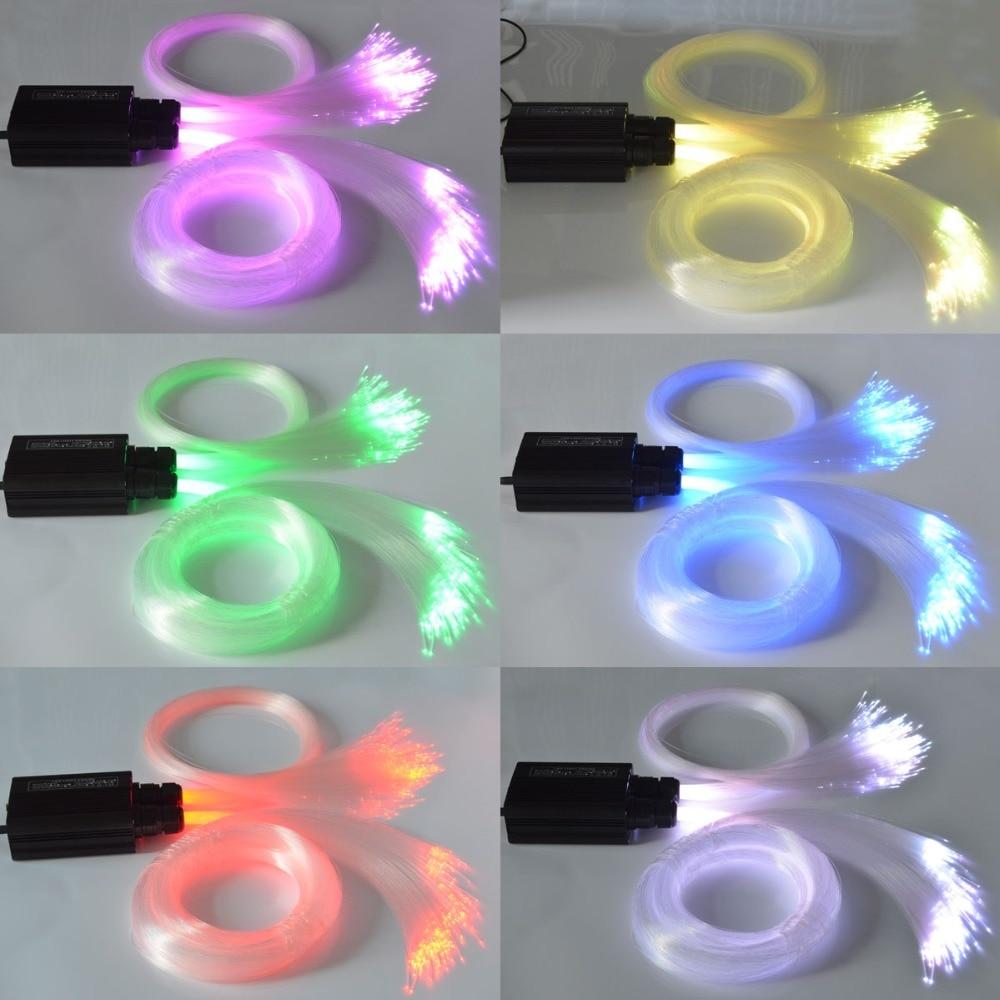 LED Fiber Optic Star Stropní Světlo Sada 2 * 3M 1,0 mm, 250ks optických vláken + 32 W dvojité slyšení RGB světelný motor + RF Touch Remote