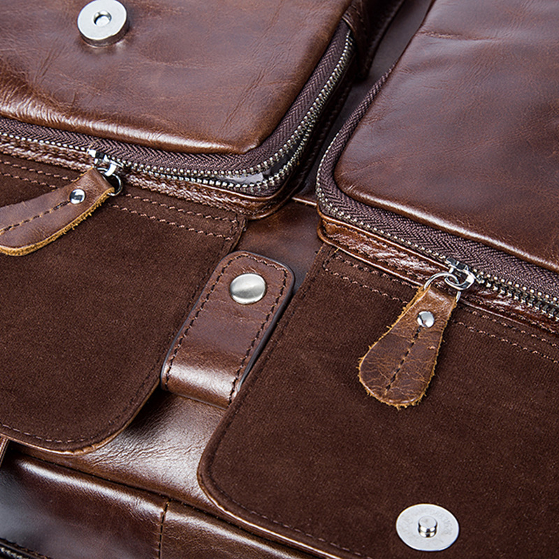 Crossbody Handtaschen Männer Brown Reise Echtem Laptop Tasche Aktentasche Vintage Aus Leder tasche Business Casual Große Schulter AOSdwOq