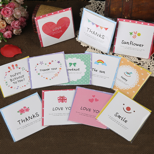 12pcs Free Shipping Fresh And Cute Greeting Cards Hand Painted Style
