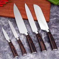 Mokithand 5 piezas cuchillo de cocina profesional Chef japonés cuchillos 7CR17 con alto contenido de carbono de carne de acero inoxidable Santoku cuchillo
