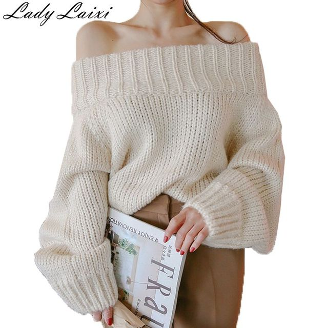 2018 Sexy Off Shoulder Sweater Women Slash Neck Long Sleeve Pullovers  Autumn Winter Casual Jumpers beige ea8ee6f15