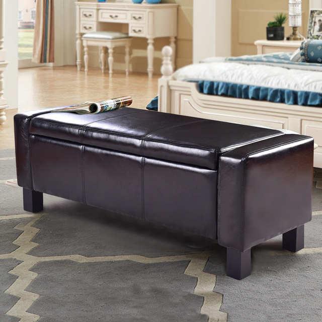 Pu Leather Storage Ottoman Bed