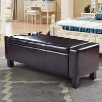 Giantex 43 PU Leather Storage Ottoman Bed Living Room Bench Storage Footstool Organizer Modern Sofa Home Furniture HW56296BK