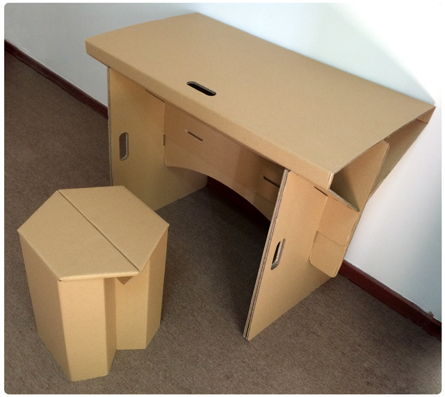 Diy Cardboard Furniture Paper Table With Chair Set Corrugated Folding Desk Office