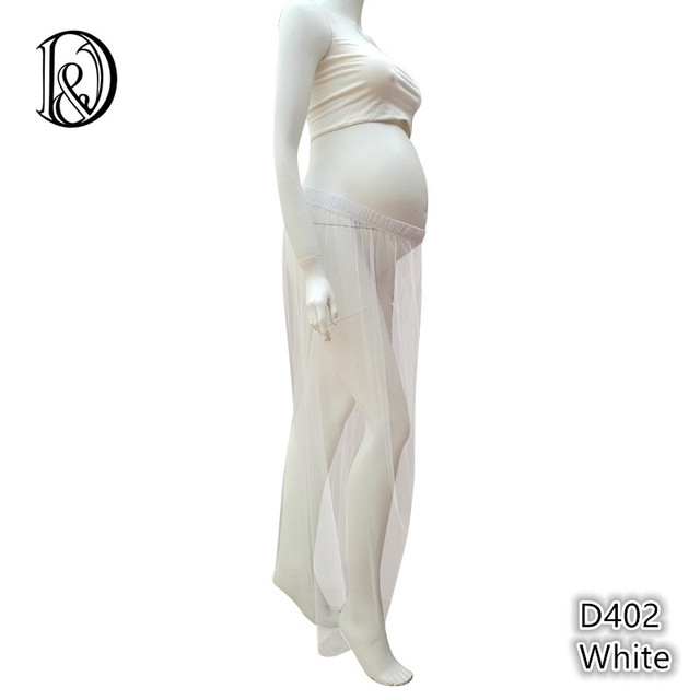 Soft Gauze Sheer Voile Maternity Dress with Boob Tube Top for Photographer photo props