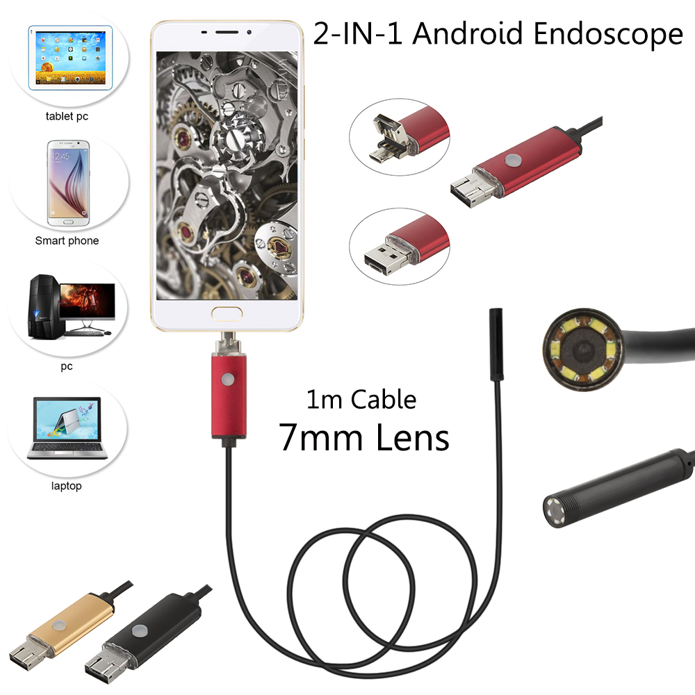 JCWHCAM Waterproof USB Endoscope For Mobile Phone And Compute PC Laptop 7mm Lens 1M USB Cable 6 LED Hd 480p Endoscope Camera