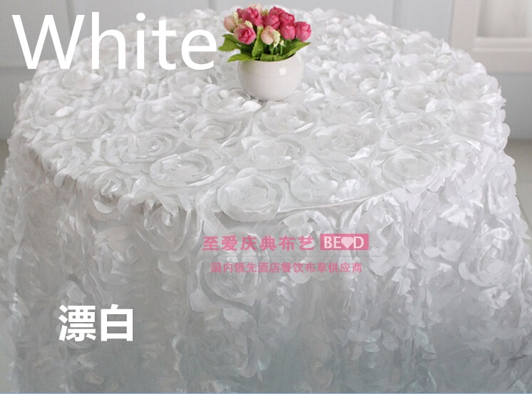 White colour wedding table cloth embroider rosette flower 3D table cover hotel banquet party round tables decoration on sale