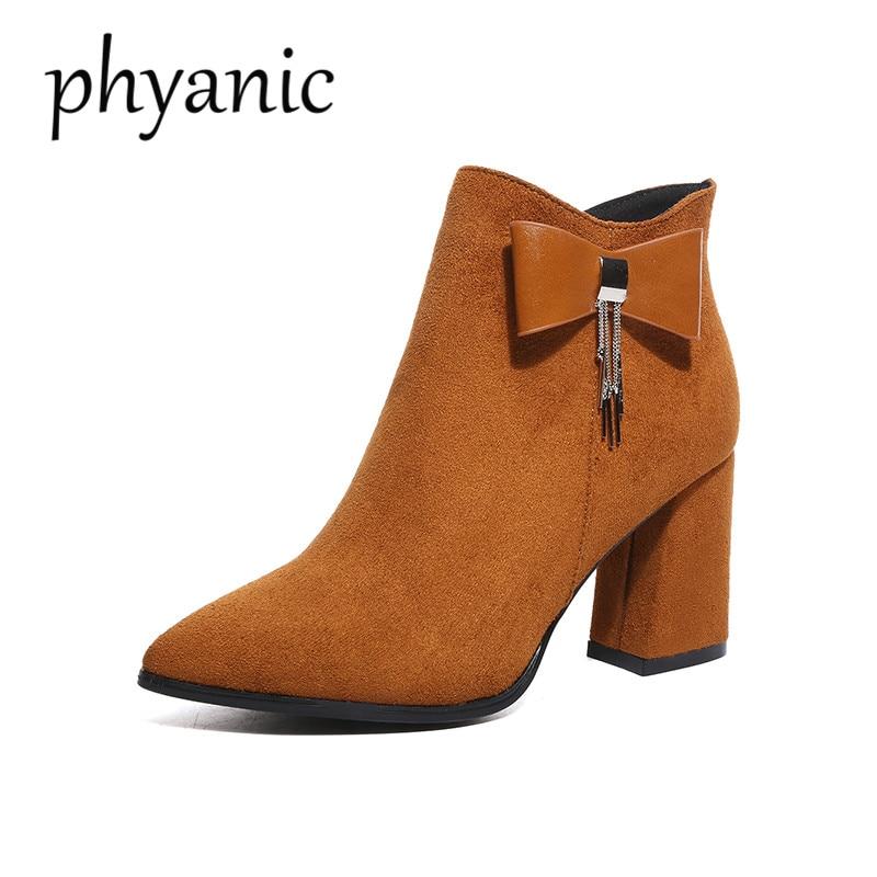 4b93b53d96 Phyanic-Moda-Quadrato-Punta-A-Punta-Tacco-Alto-8-cm-Cerniera-Bowtie-Camoscio-Nero-Stivaletti-Per.jpg