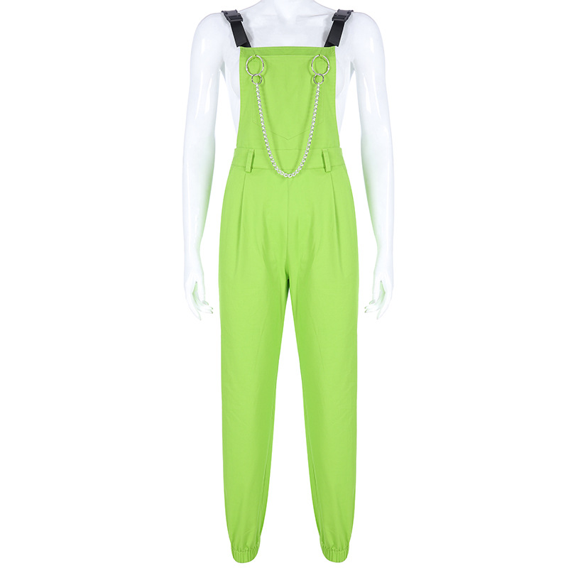 NCLAGEN Stylish jumpsuit Pockets Overalls Chains Buckles Women Suspenders Trousers Loose Streetwear Capris Female Casual Pants 39