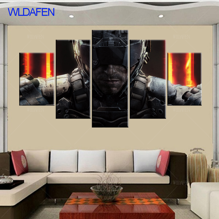 5 piece canvas art HD print call duty Black Ops 3 game poster decor paintings for living room wall free shipping