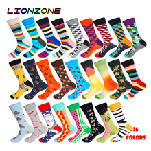 LIONZONE 1Pair Cotton Men Socks Quality Brand Fall Colorful Pattern Coolmax Funny Happy Dress Wedding Male Crew Plus Size