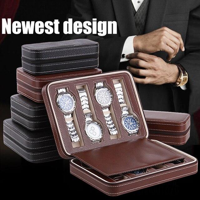 Sight Focus 2 4 8 Grids Travel Watch Organizer Box Zipper PU Leather Watch Case Protable Storage Wristwatch Holder Black coffee