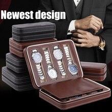 Sight Focus Caja organizadora de relojes de viaje con 2, 4 y 8 rejillas, estuche de reloj de cuero PU con cremallera, almacenamiento portátil, soporte para reloj de pulsera negro y café