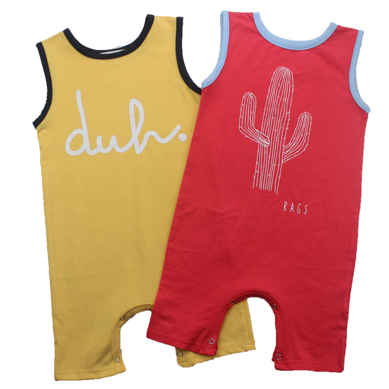 Baby Boys Rompers Girls Summer Sleeveless Jumpsuit Cactus&DUHA Letter 2017 Infant Newborn Tiny Cotton Rompers newborn baby rompers baby clothing 100% cotton infant jumpsuit ropa bebe long sleeve girl boys rompers costumes baby romper